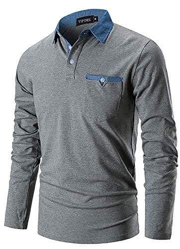 YIPIN Polo Manica Lunga Uomo Maglietta Denim Collare Maglia Elegante Cotone T-Shirt Golf Tennis Lavoro Camicia,Grigio Scuro,L