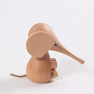 Home Décor Wooden Craft Gift Children's Toys Solid Wood Carving Long Nose Small Elephant Decoration Home Living Room Study...
