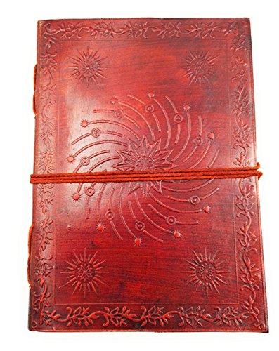 Chic & ZenNotizbuch, Tagebuch, Buch, Echtleder, Vintage, Kosmisches Mandala, 13x17cm, Premium-Papier