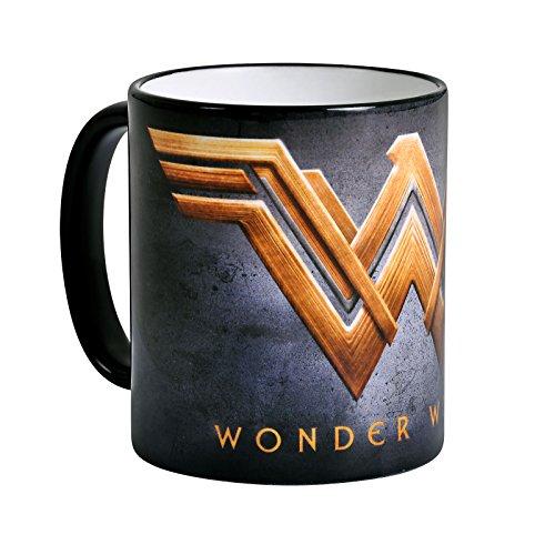 Elbenwald Wonder Woman Tasse Filmlogo Symbol Rundumdruck Keramik 320 ml grau