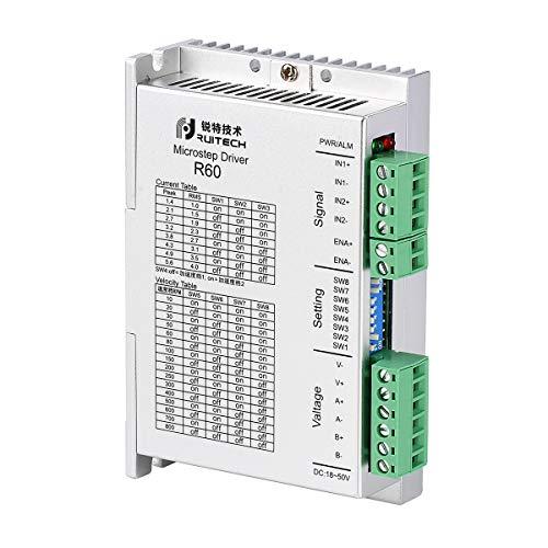 Rtelligent Schrittmotor-Treiber Nema 23 24 Mikroschritt Controller 24-50 VDC Leistung 1,4-5,6 A Strombereich Bipolarer 2-Phasen-Hybridtreiber für 3D-Drucker