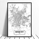 Leinwanddruck,Mexiko City Schwarz Weiß Benutzerdefinierte