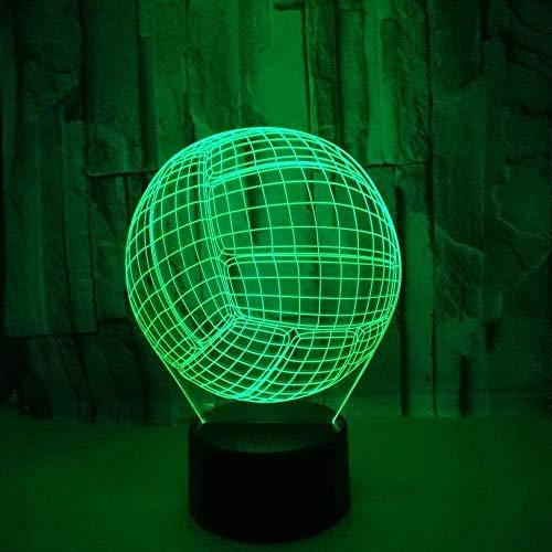 Luz De Noche Led Symphony 3D, Lámpara De Escritorio Led De Tipo Táctil 7 Tipos De Cambiadores De Color Cargadores Interruptores Táctiles Para Regalos De Navidad (Voleibol)