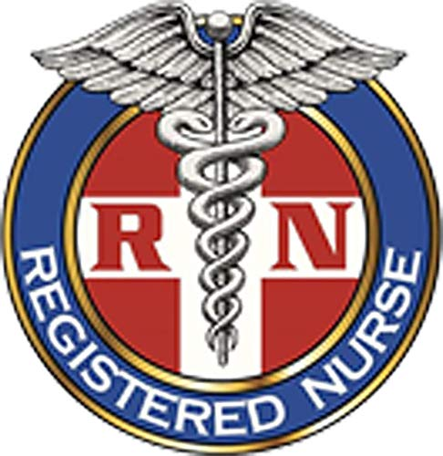 Simple Colored Registered Nurse RN Caduceus Symbol Icon Vinyl Sticker (4' Tall, 4)