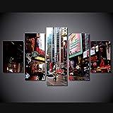 DGGDVP Cuadros enmarcados 5 uds, Pintura de Calle de la Ciudad sobre Lienzo, decoración de habitación, póster Impreso, Lienzo, Enmarcado, tamaño 1 con Marco