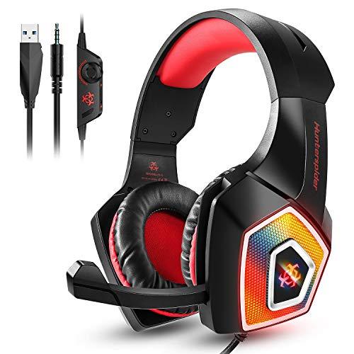 Galopar Gaming Headset, Gaming Kopfhörer mit Mikrofon, Bass Stereo Surround, kompatibel mit PS4 / Xbox One/PC/Laptop/Nintendo Switch und Mobile-Rot