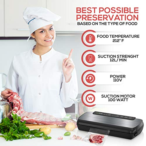 NutriChef Vacuum Sealer By NutriChef, Automatic Vacuum Air Sealing System For Food Preservation with Starter Kit, Compact Design, Lab Tested, Dry & Moist Food Modes, Led Indicator Lights (Stainless Steel)