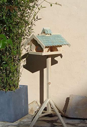 Mangeoire à oiseaux avec support, grand nichoir BTV X-VONI5-MS-T à vis RKIS001 pour le Nouvel An solide Nichoir à oiseaux avec dispositif de nettoyage Livré avec support 100 % bois massif Clôture en T - Couleur antique Blue Ocean Toit de protection pour futter sec Turquoise