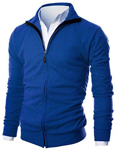 GIVON Entalladas Hombre De Peso Ligero Full Zip Arriba Cardigan Con Dentro De Tela Suave Dcp047-Azul Cobalto Pequeño