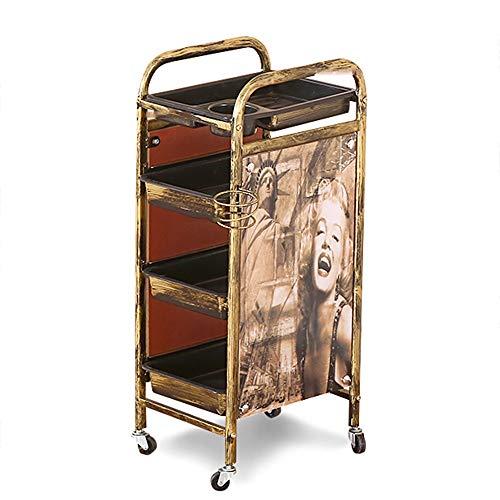 WangQ Carrello for mensole, cremagliera Vintage in Ferro battuto Grande Spazio a Strati portante Salone di Bellezza for Parrucchiere, 2 Colori, 37X33X90CM carrellino Cucina (Color : A)