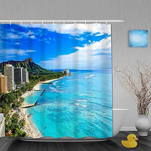 N\A Duschvorhang, Waikiki Beach & Diamond Head, Honolulu, Oahu Island, Hawaii, Badezimmerdekor aus Stoff mit Kunststoffhaken