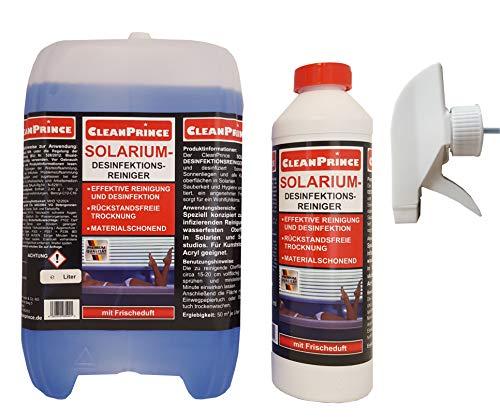 CleanPrince 2,5 Liter Solariumreiniger Solariumdesinfektion Desinfektionsreiniger Solarien Solarium FRISCHEDUFT. Speziell konzipiert zur desinfizierenden Reinigung von wasserfesten Oberflächen in Solarien und Sonnenstudios. Für Kunststoff und Acryl geeignet.