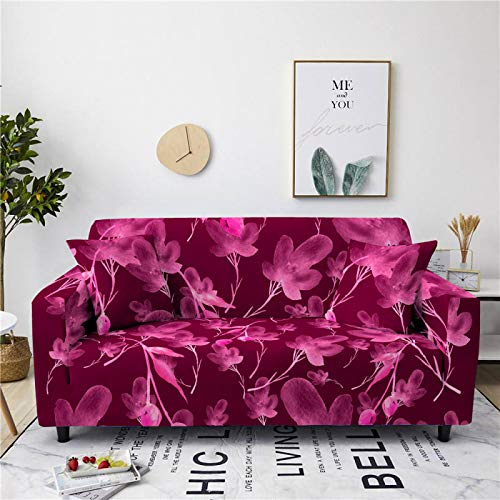 Stretch Sofa Couch Covers Elastic Fabric Dark Red Flower Pattern Universal Fitted Armchair Loveseat Settee Slipcover Durable Furniture Protector From Dogs/Pets/Kids,2,Seat 145,185cm