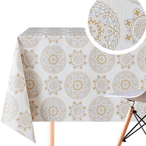 Nappe rectangulaire facile à nettoyer avec motif mandala oriental - 200 x 140 cm - Pour tables rectangulaires jusqu'à 6 places - Toile cirée en vinyle PVC - Beige Gris Violet Doré Lilas