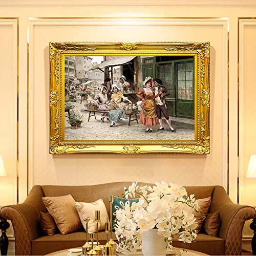 Quadro Nordico Quadro su Tela Quadri Colorati, Soggiorno, Camera da Letto, Pittura a Olio, manifesti e Stampe 70x70cm Senza Telaio