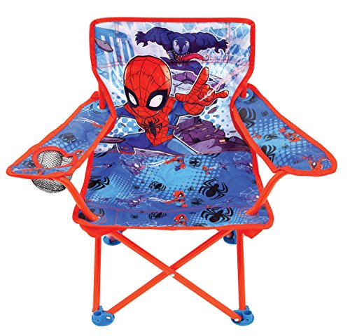 Jakks Pacific Spider-Man Adventures Camp Chair for Kids, Portable Camping Fold N Go Chair with Carry Bag