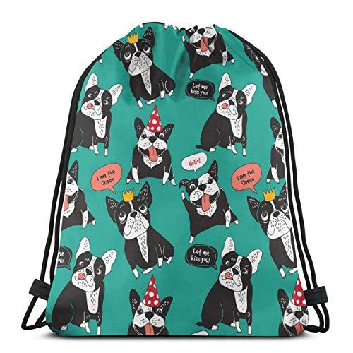 Molelanki Hund Französische Bulldogge Happy Animals Farbe Kordelzug Rucksack für Frauen Gym Sack Canvas Kordelzug Tasche Leichtgewicht für Sportreisen 36 x 43 cm / 14,2 x 16,9 Zoll