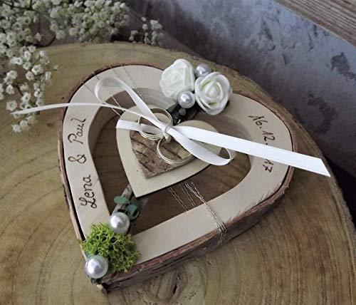 Ringkissen Herz Holzherz mittig creme Ringhalter für Eheringe mit Namen Hochzeit