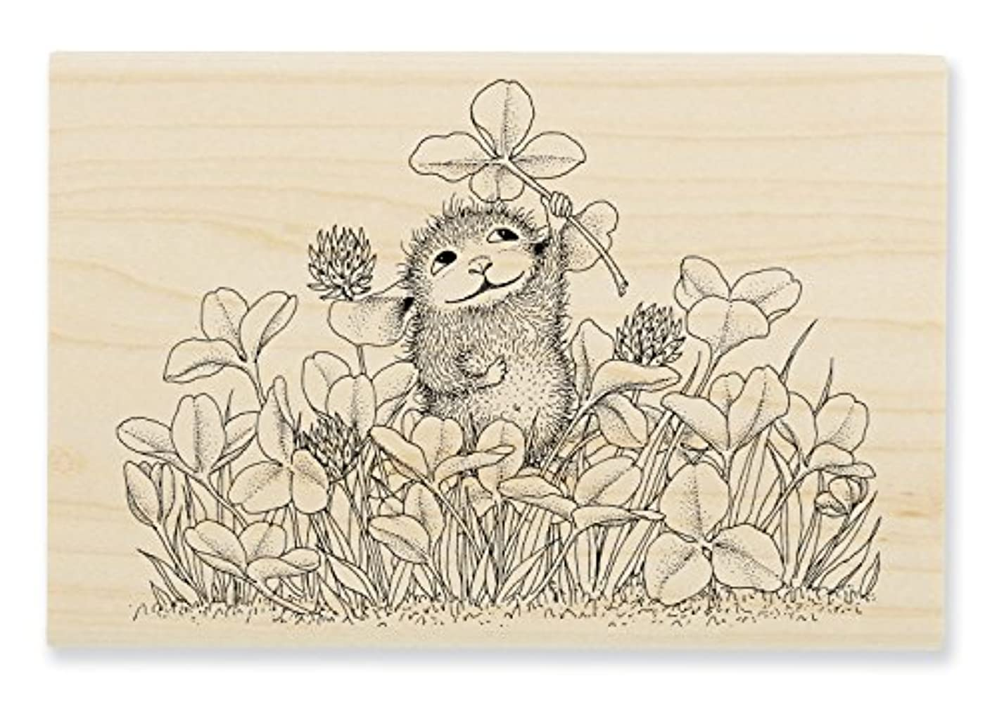 STAMPENDOUS House Mouse Wood Rubber Stamp Lucky Clover esyymblmkpp759