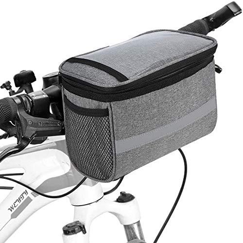 WeyTy Fahrrad Lenkertasche, 2L Isoliert Fronttasche MTB Lenkertasche mit Transparentem PVC Touchscreen, Fahrrad Kühltasche mit Reflektorstreifen und 2 Netztaschen für Draussen Aktivität Pack Zubehör