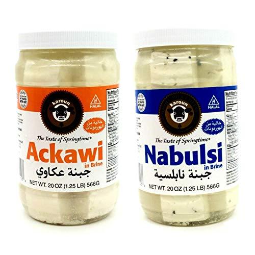 Karoun Ackawi & Nabulsi Cheese in Brine - Kosher 2 Jars 1.25Lbs/566g each جبنة عكاوي و نابلسية حلال