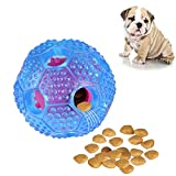 RENZCHU Interactive Dog Toy, IQ Treat Ball Food Dispensing Toys for Small Medium Large Dogs Durable Chew Ball, Nontoxic Rubber and Bouncy Dog Ball, Cleans Teeth-Blue