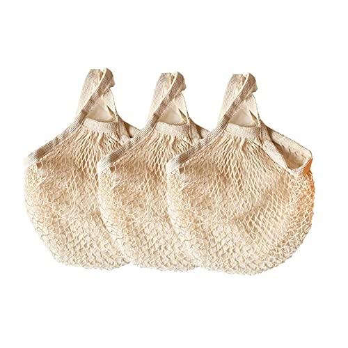 WSXEDC Bolsas de comestibles de Malla de algodón Reutilizables, Bolsas de Compras de algodón Plegables y Lavables, Tote de Red de Mango Largo, para Compras en el Mercado de Agricultores