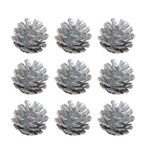 rosenice 9pcs 4cm cono con cuerda de pino de Navidad Pinecone adornos colgantes de salida de aptitud de decoración de árbol de Navidad (Plata)