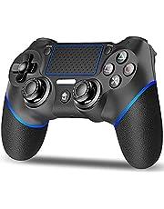PS4 コントローラー mkeety ワイヤレス ゲームパット 最新バージョン Bluetooth リンク遅延なし 600mAh 振動機能 重力感応 イヤホンジャック Slim PC Win10対応 日本語取扱説明書 (ブルーブラック)