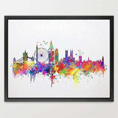 Dignovel Studios 8X10 London Skyline UK United Kingdom City Watercolor Illustrations Art Print Kids Art Print Wedding Gift Home Decor Art Birthday Gift Wall Hanging N391