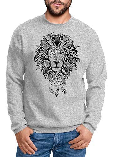 Neverless Sweatshirt Herren Aufdruck Löwe Boho Style Atzekenmuster Traumfänger Ethno-Print Rundhals-Pullover Rundhals-Pullover grau XL
