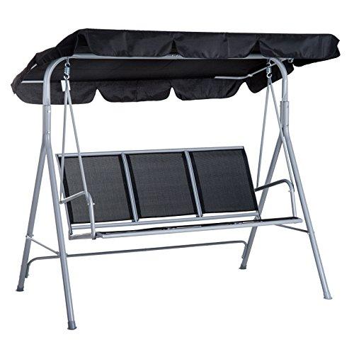 Outsunny Balancelle de Jardin 3 Places Grand Confort Toit imperméabilisé Inclinaison réglable Assise et Dossier Ergonomique 1,7L x 1,1l x 1,53H m Acier textilène Noir