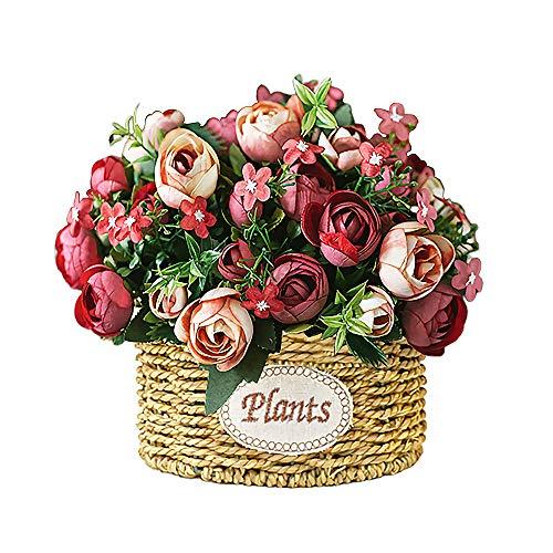Flor Artificial Flores de Seda Ramo de Rosas Rojas Mini Plantas Artificiales Cesta Hecha a Mano con Jarrón Arreglo de Boda Pequeña flor de Plástico Artificial Real Artística Decoración del Hogar