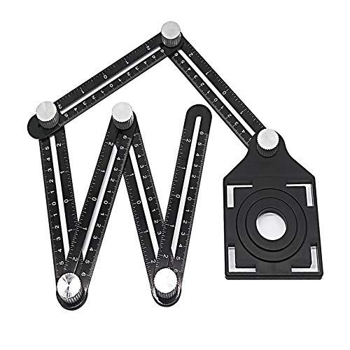 iPobie Winkelschablone Template Tool, Multi-angle Winkelmesser Lineal Angleizer Template Tool, Multifunktionslineal Winkelmesswerkzeug(6-seitig)
