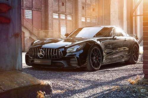 """Mercedes-Benz AMG GT R by Edo Competition (2018) Car Print on 10 Mil Archival Satin Paper Black Front Side Static View 24""""x36"""""""