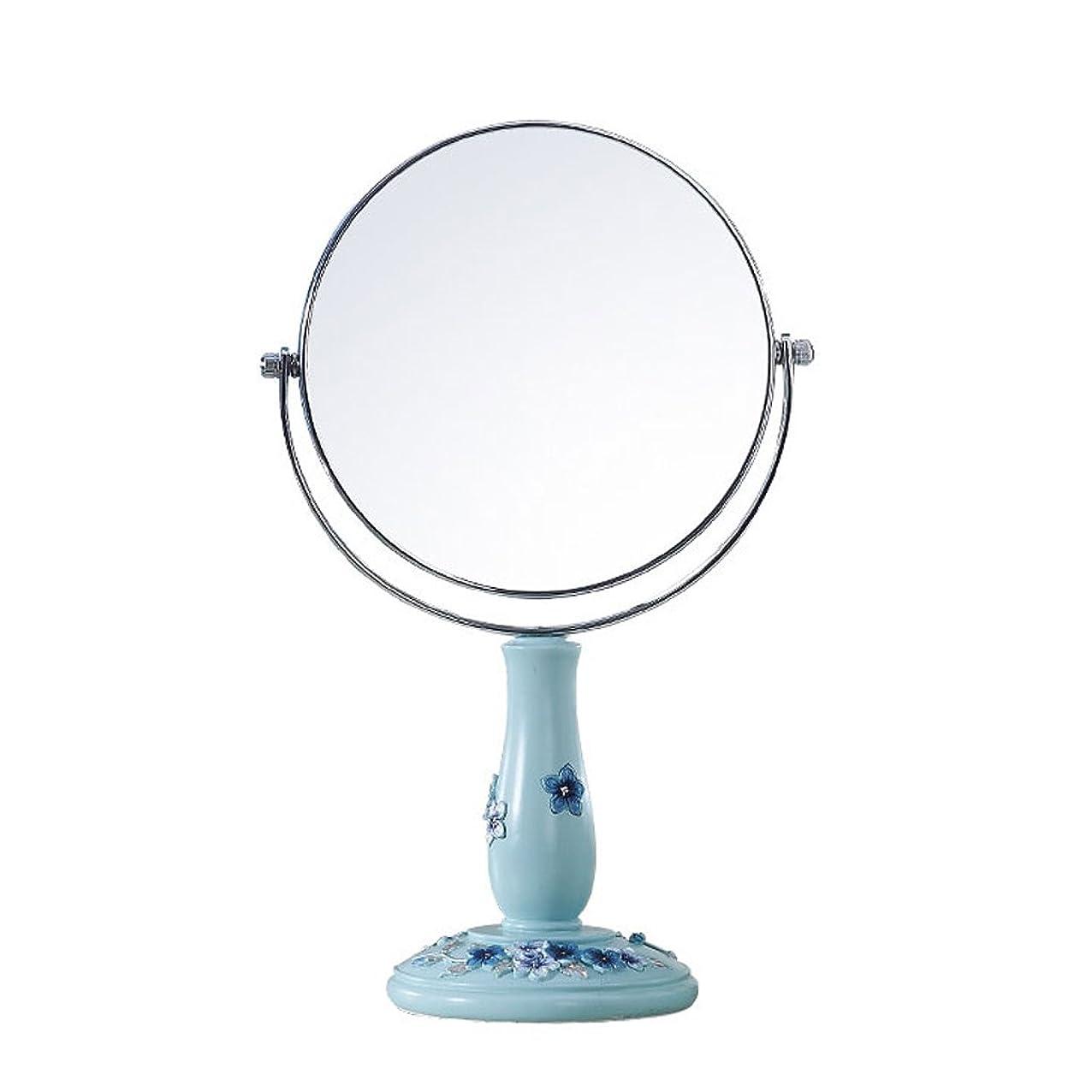 直径とげのある反動GSN 3x倍率コンチネンタル両面化粧鏡屋内HDデスクトップ樹脂バニティミラープリンセスミラーデスクトップ彫刻装飾(青) 鏡 (Size : 23*12.7*9.5cm)