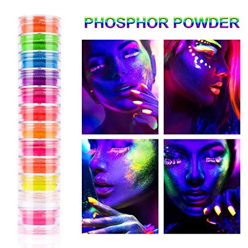 Poudre de phosphore - Neon Powder Nail Glitter Poudre Lumineuse Fluorescent Glow dans le noir 12 couleurs pour décorer votre ongle et profiter de la soirée comme Halloween Noël le carnaval