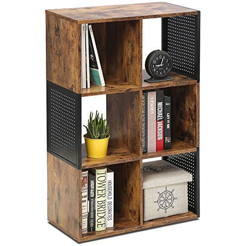 FITUEYES Bücherregal mit Offenem Stauraum Holz Matchwood Metallgewebe Kombinierter Schrank für Heim Büro 93x59.6x29.8cm CO309301MB