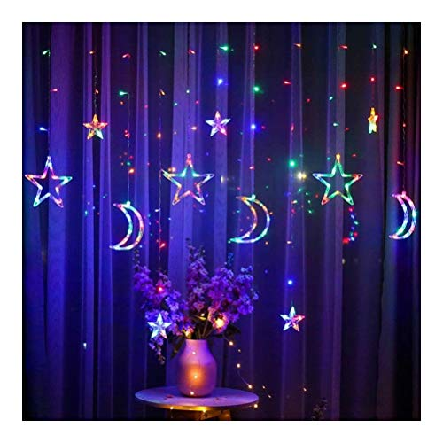 FUSKANG LED Fairy Lights, 3.5m Star Moon LED Christmas Light Chain 8 Modes String Light Photo Wall Light for Garland Wedding Decorative Lamp Christmas Window Curtain, Warm White Colorful