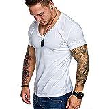 Camiseta Hombre Verano Clásico Cuello V Hombre Músculos Shirt Moda Color Sólido Manga Corta Hombre Deportiva Camisa Estiramiento Cómodo Wicking Hombre Funcional Shirt F-White M