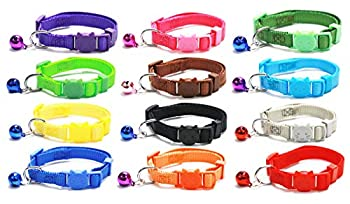 GAMUDA Cat Collars Breakaway - Super Soft Nylon Cat Collar – Pet Collars - Colorful Adjustable Safety Kitten Collars with Bell Set of 12 - Collar para Gato