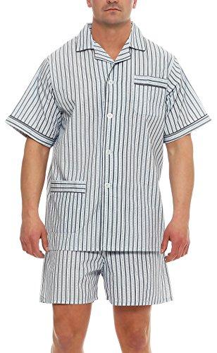 Klassischer Pyjama Kurzarm Schlafanzug Batist Knopfleiste Marke (Gr. 48, grau gestreift)