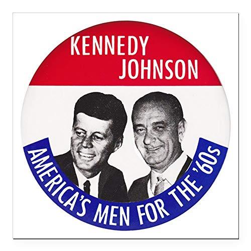 CafePress Kennedy/Johnson Square Car Magnet 3 X 3 Square Car Magnet, Magnetic Bumper Sticker