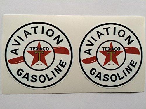 2 Texaco Aviation Gasoline Die Cut Decals