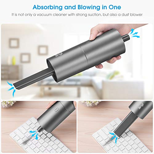 Brigii Mini Vacuum Cleaner,Small Handheld Vacuum Cordless USB Rechargeable,Dust Buster and Blower 2 in 1, Easy to Clean Car, Desktop,Keyboard,Computer, Kitchen Drawers-Y120 Dark Gray