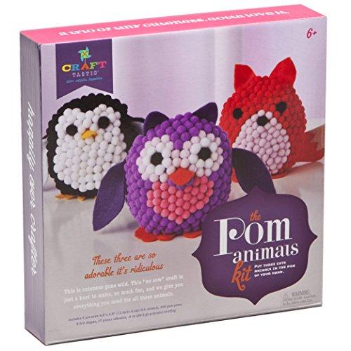 Craft-tastic CT1686 Pom Stuff Animals – Craft Kit Makes 3 Pompom Stuffed Animals – Owl, Penguin & Fox