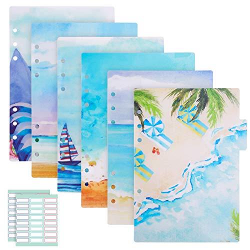 Divisores de índices de carpeta, 2 juegos de 12 unidades A5 para cuadernos, archivadores de PVC insertables, fichas de índices de plástico para 6 anillas, cuadernos de viaje, temáticas de verano