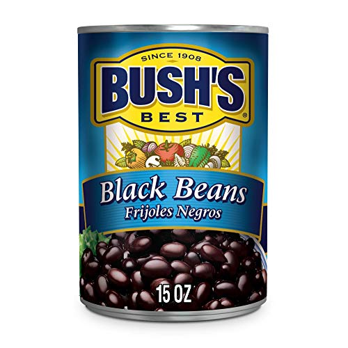 BUSH'S BEST Canned Black Beans, Low Fat, Gluten Free, 15 oz