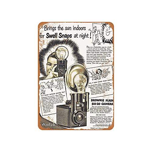 Fhdang Decor 1949 Kodak Brownie Flash Six-20 - Señal de aluminio con aspecto vintage, metal, multicolor, 12x18 inches