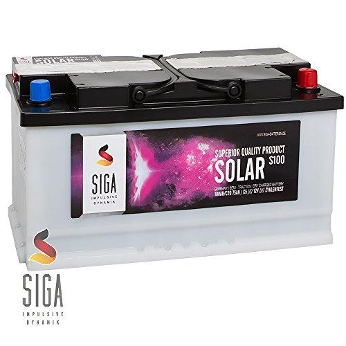 SIGA Solarbatterie 12V 100AH trocken vorgeladen Versorgungsbatterie Boot Antrieb und Beleuchtung Batterie